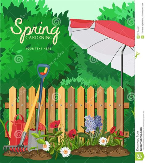 Poster Garden gardening poster with a fence and umbrella