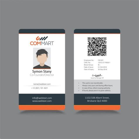 employee id card template free id badge templates free sle exle format