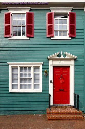 teal house eclectic home exterior