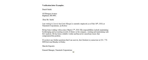 Employment History Letter Template Verification Letter Employment Verification Letter Business Letter Exles