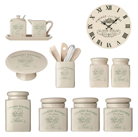 kitchen tea coffee sugar canister biscuit salt pepper milk