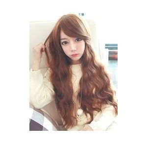 creamy wave orange brown korean fashion beauty wig