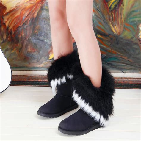 cheap s snow boots black winter warm artificial