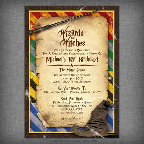 harry potter birthdays card template best 25 harry potter invitations ideas on