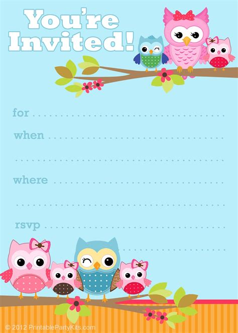 free birthday invitation template 6 smart owl baby shower invitations printables ideas for