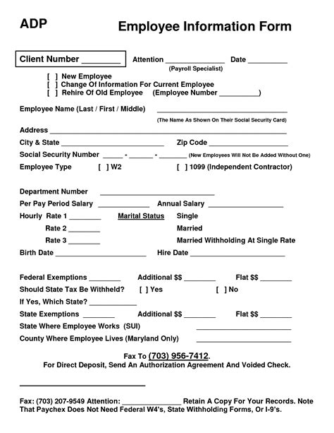 new employee information form template best photos of new employee form template employee new