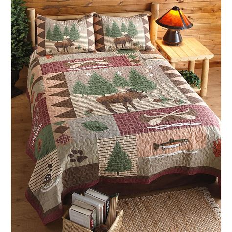 moose bedding moose lodge quilt set 3 pieces 210458 quilts at