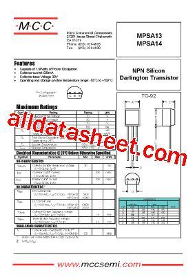 transistor mpsa13 datasheet mpsa13 datasheet pdf micro commercial components