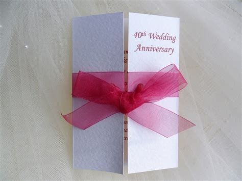 40th wedding anniversary invitation 60p each 40th ruby wedding anniversary invitations