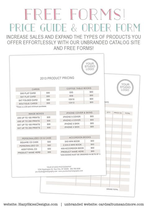 Free Photography Forms Pricing Guide And Order Form Photography Tricks Tips Pinterest Sales Guide Template