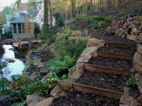 wooden outdoor stairs and landscaping steps on slope natural landscaping ideas
