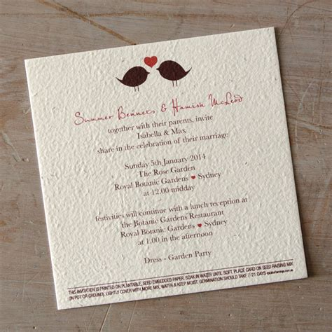 Paper To Make Invitations - 2 birds seeded paper wedding invitation
