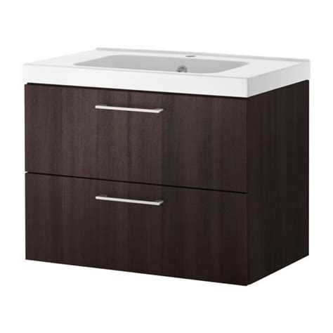 bathroom vanity with drawers ikea godmorgon odensvik sink cabinet with 2 drawers black