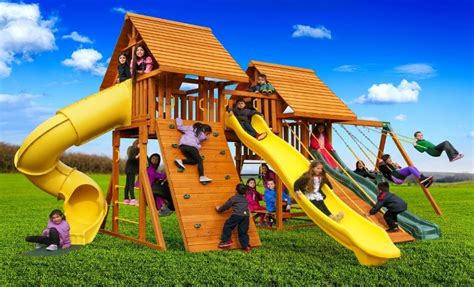 best swing sets for small backyards fantasy wooden playset b best in backyards