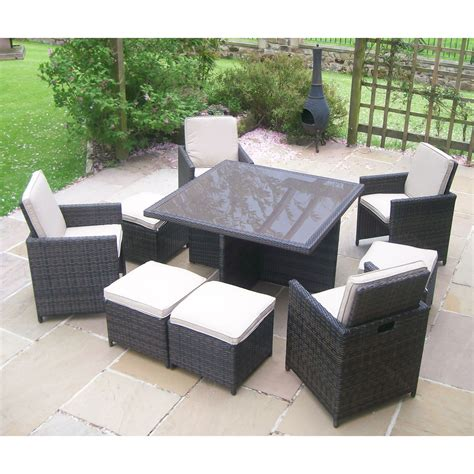 rattan wicker garden furniture table 4 chair patio set ebay