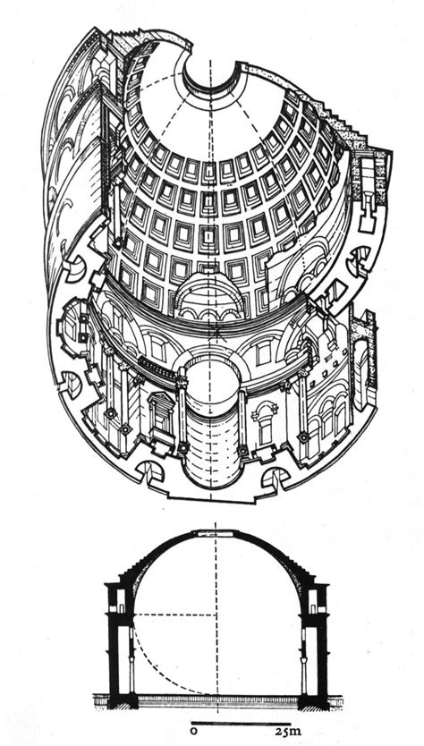 definition of section in architecture pantheon rome ad 118 28 isometric drawing and section