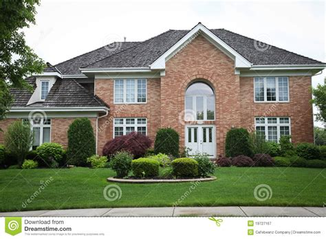 House Plans With Landscaping by Red Brick House Royalty Free Stock Photography Image