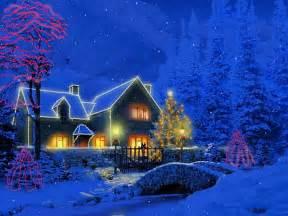 Christmas scenes blue bg golden lights more christmas wallpapers merry