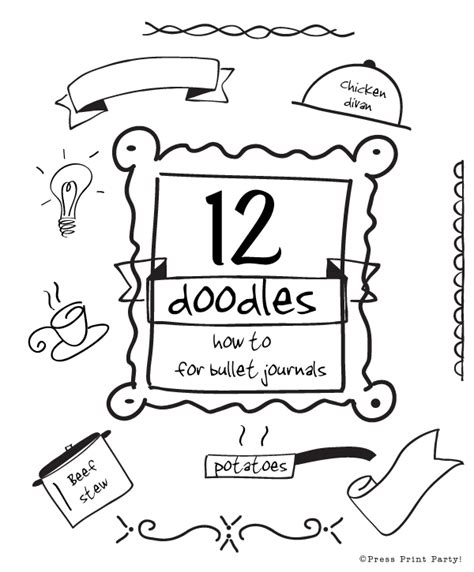 how to doodle in a journal 12 doodles how to for bullet journals press print