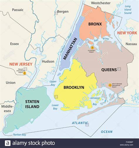 map of new york city boroughs new york city 5 boroughs map stock vector