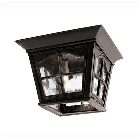 Bel Air Outdoor Lighting Bel Air Lighting Bostonian 3 Light Outdoor Black Flush Mount Fixture With Water Glass 5427 Bk