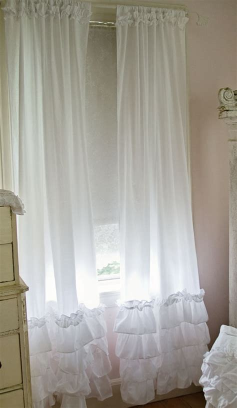 shabby chic white curtains ruffled curtain panels shabby chic style curtains white