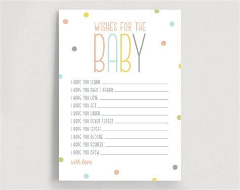 wishes for baby printable template wishes for baby well wishes printable shower wishes
