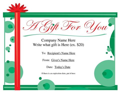 free certificate template for microsoft word gift card