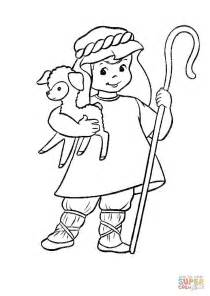 Shepherd With A Lamb In His Hands Coloring Page Free Shepherd And Sheep Coloring Page