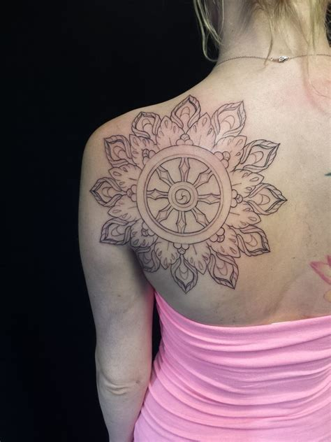 dharma wheel tattoo nathanemery black work mandala dharma wheel
