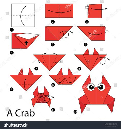 how to make an origami crab step by step how make stock vector 339563279