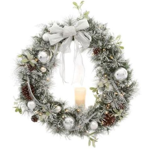 home accents holiday 36 in battery operated snowy silver