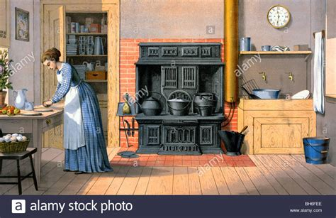 fashion kitchen working in an fashioned kitchen 1875 stock photo royalty free image 27803398 alamy