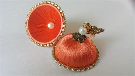 Handmade Threads - handmade silk thread jhumka earrings