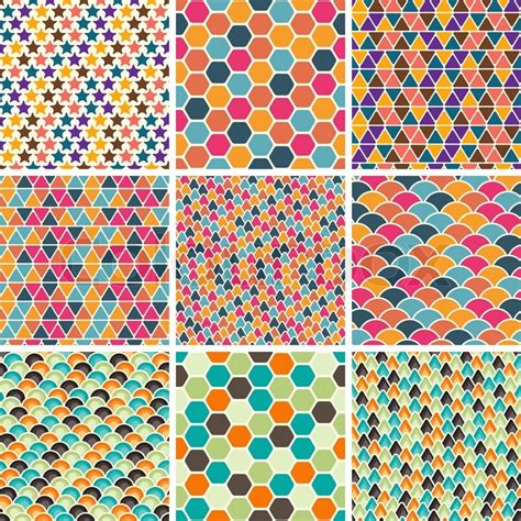 geometric pattern wiki set of seamless retro geometric pattern eps8 vector
