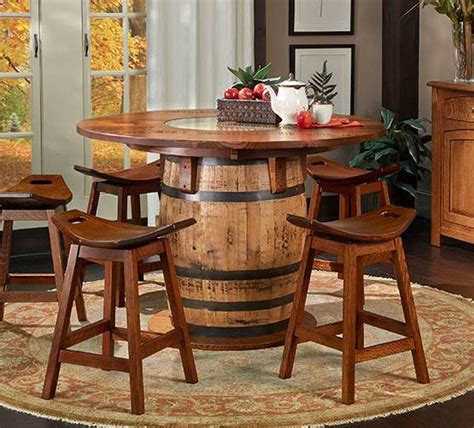 barrel table and chairs tennessee whiskey barrel pub table the log