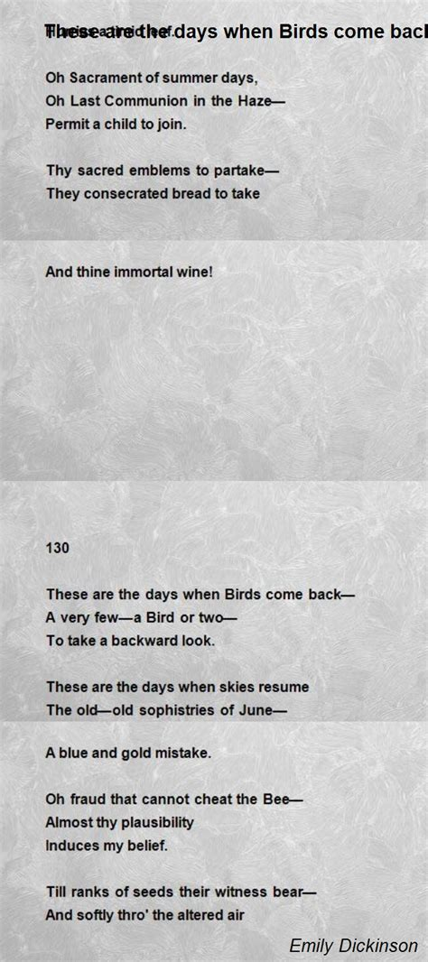 the days when birds come back books these are the days when birds come back poem by emily