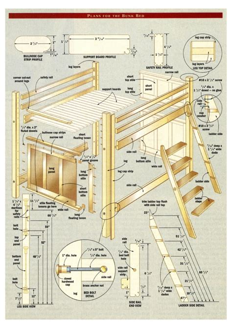 plans for bunk beds woodworking projects