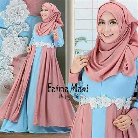 Baju Muslim Syari 77 baju muslim gamis syar i modern fatma dusty biru http