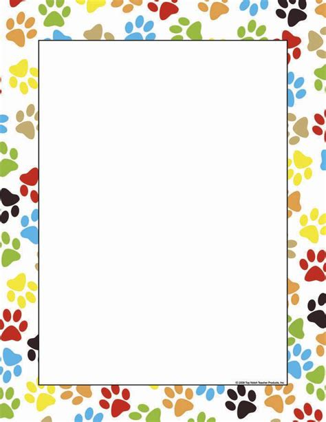 printable paper photo frames paw print border paw print computer paper doggie