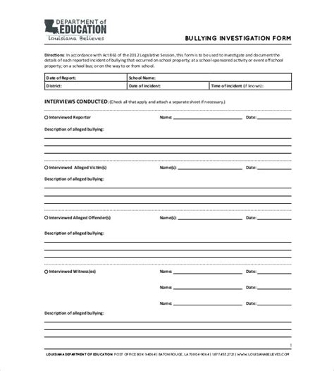 Presentence Investigation Report Form Presentence Presentence Investigation Report Form