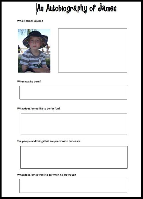 Student Biography Card Template by Best 25 Autobiography Template Ideas On