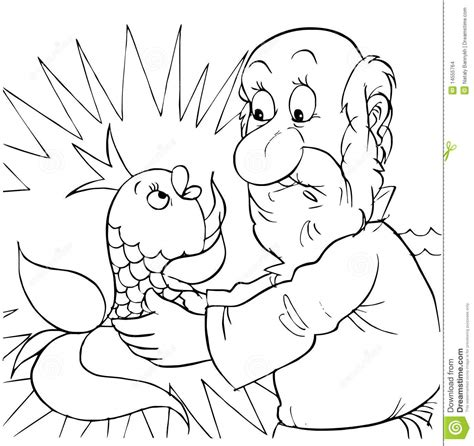 magic fish coloring page gold fish and old fisher stock illustration image of