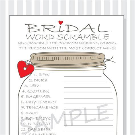 Free Bridal Shower Word Scramble by Bridal Word Scramble Printable Cards Bridal Shower Diy