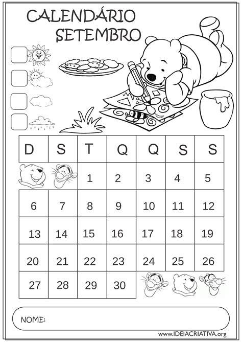 Calendario 7 De Setembro Calend 225 Rios Setembro 2015 Turma Do Ursinho Pooh Educa 231 227 O