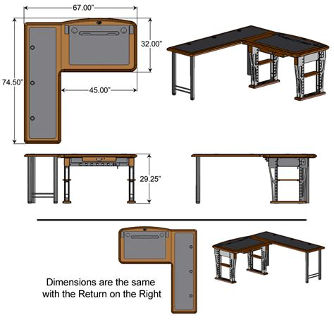 Computer Desk Dimensions Modern Computer Desk L Shaped Right Caretta Workspace