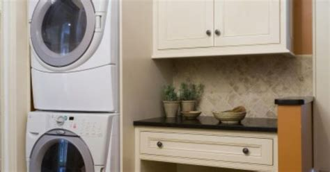 Stacked Washer And Dryer Option As Like Standard Height Laundry Room Cabinet Height