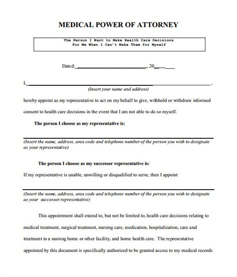 sle medical power of attorney form 7 free documents