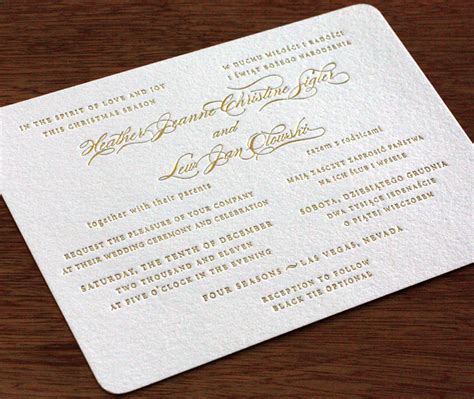 bilingual wedding invitations letterpress wedding invitation letter impressed by