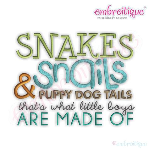 snakes and snails and puppy tails embroitique snakes snails puppy tails embroidery design